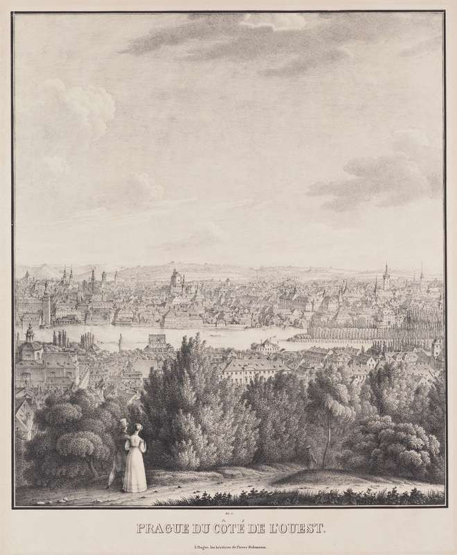 Vincenc Morstadt - View of Prague from the West (4 sections)