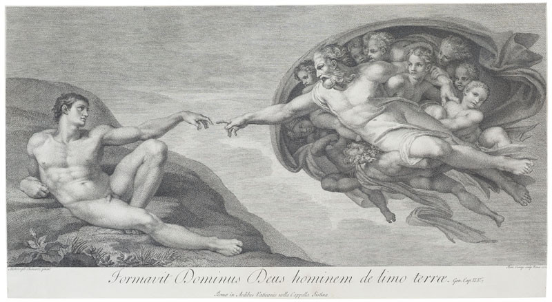 Domenico Cunego - engraver, Michelangelo Buonarroti - inventor - Creation of Adam