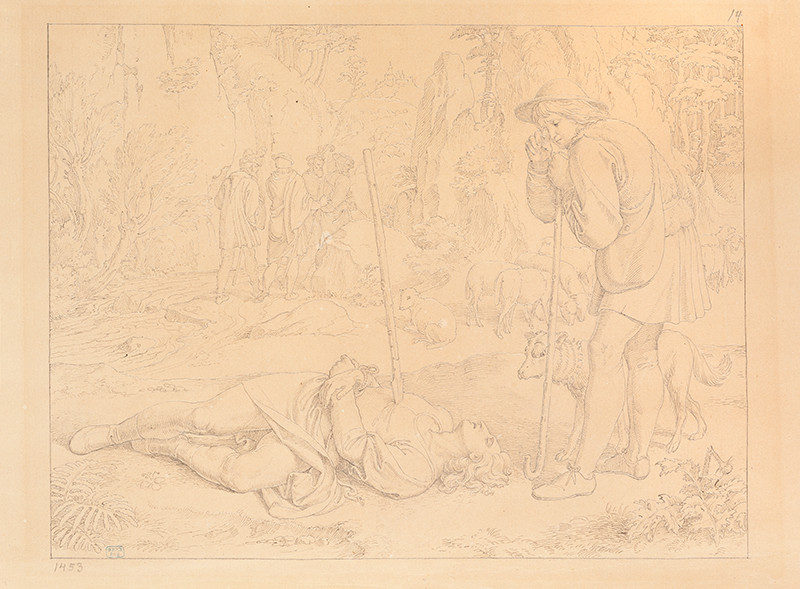 Josef Führich - Shepherd Heinrich over the Killed Golo (Scene 13 from the cycle Legend of St Genevieve)