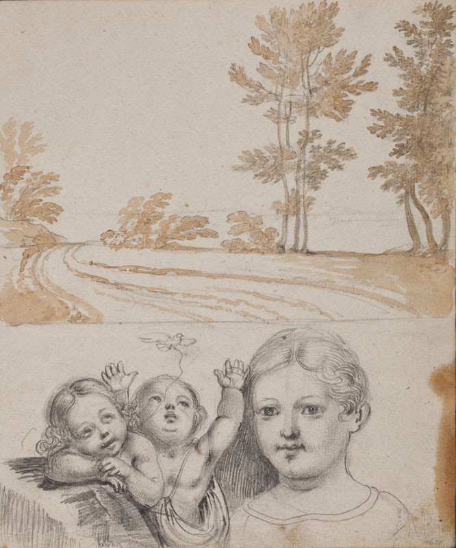 František Tkadlík - Sheet from Sketchbook A - landscape study; three children, Reverse side: landscape with ruins