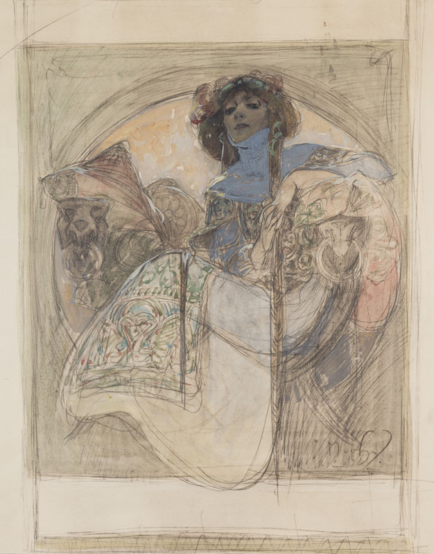 Alfons Mucha - Seated Woman – study for a poster