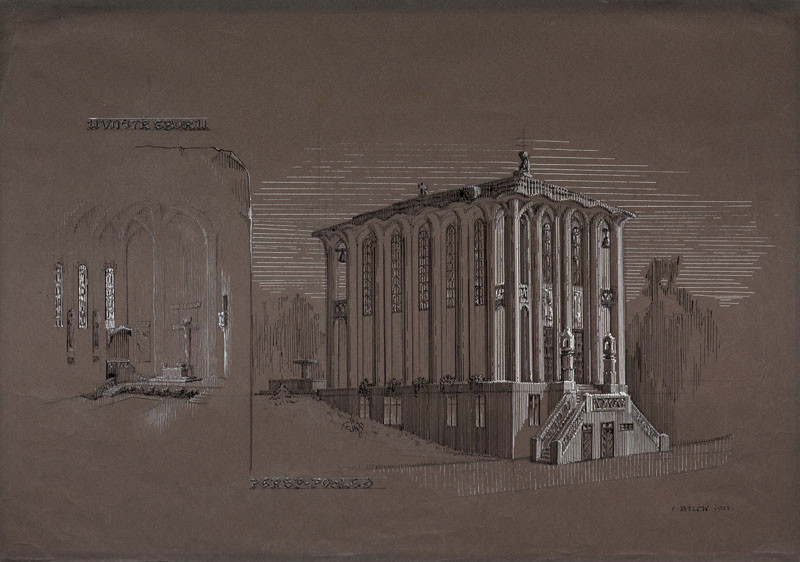 František Bílek - Design for a Congregation Hall for the Czecoslovak Hussite Church in Chýnov, perspective views